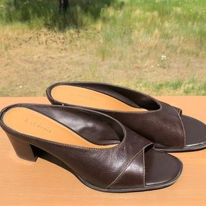 Ladies' brown Liz Claiborne peep toe pumps.
